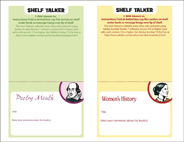 Poetry Month and Women's History Shelf Talker - Printable Worksheet