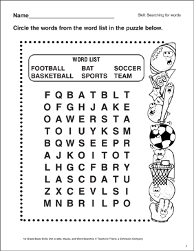 picture regarding Sports Word Search Printable called Term Glance - Sports activities Printable Term Queries and Capabilities Sheets