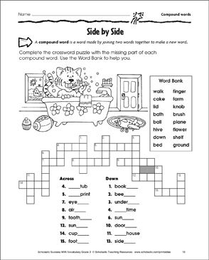 side by side compound words printable crossword puzzles and skills sheets. Black Bedroom Furniture Sets. Home Design Ideas