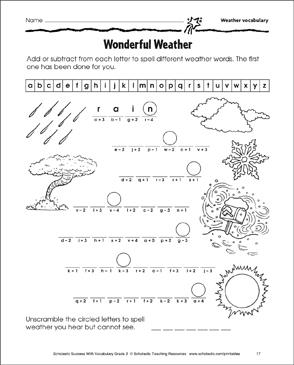 wonderful weather weather vocabulary printable skills sheets. Black Bedroom Furniture Sets. Home Design Ideas