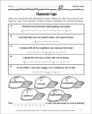 photograph relating to Character Traits Printable named Temperament Caps (Personality Attributes) Printable Techniques Sheets