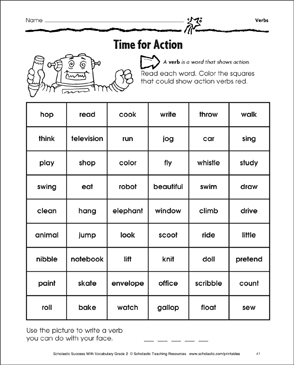 Time for Action: Verbs (Grade 2 Activity) | Printable Skills Sheets