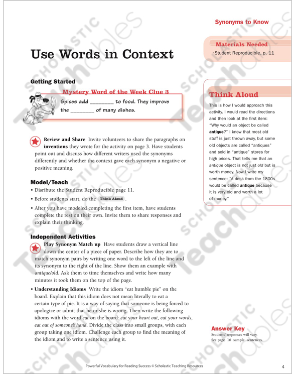 Practice Pages (Context Clues: Synonyms to Know) by Cathy