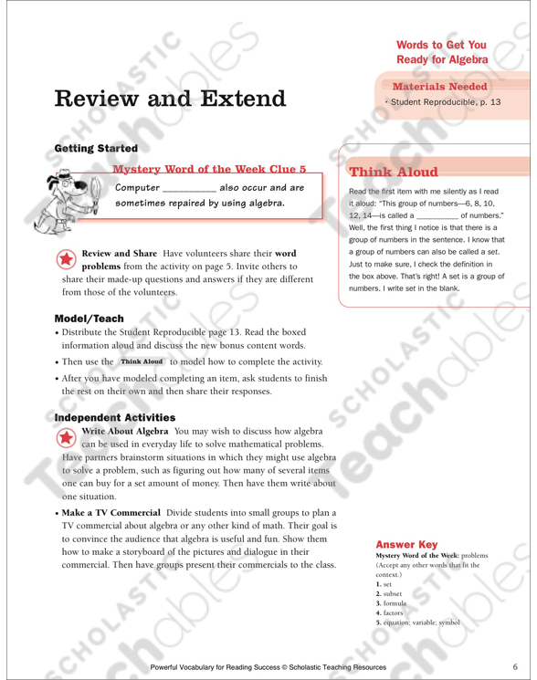 Algebra Words: Learn Words About a New Subject   Printable