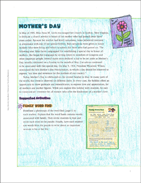 Mother's Day: May Ideas & Activities - Printable Worksheet
