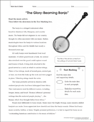 The Glory-Beaming Banjo (Main Idea & Details): Close Reading