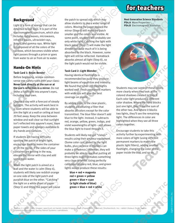 Light: SuperScience STEM Activities   Printable Lesson Plans