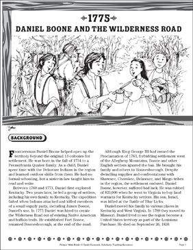 1775: Daniel Boone and the Wilderness Road - Printable Worksheet
