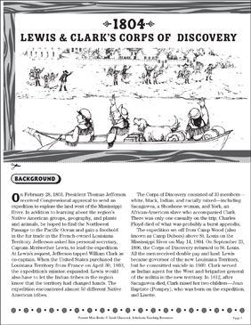 1804: Lewis & Clark's Corps of Discovery - Printable Worksheet