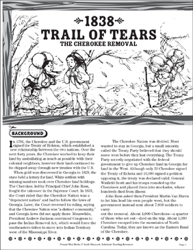 1838 Trail of Tears   Printable Mini Books, Lesson Plans ...