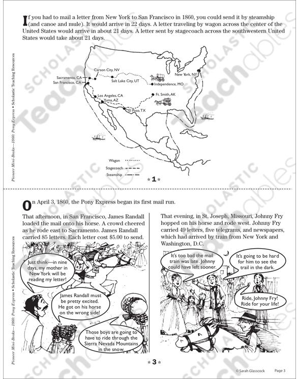 1860 Pony Express Mini Book Printable Mini Books Lesson Plans