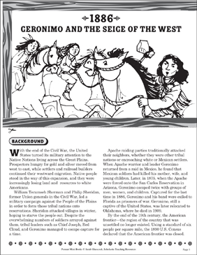 1886: Geronimo and the Closing of the West - Printable Worksheet