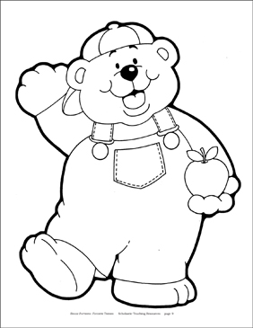 Bear with Apple Reproducible Pattern - Image Clip Art