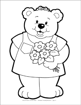 Spring Bear with Flowers Reproducible Pattern - Image Clip Art