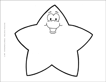 Smiling Star (B&W) Reproducible Pattern - Image Clip Art