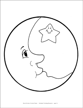Moon and Star Reproducible Pattern - Image Clip Art