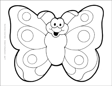 Smiling Butterfly Reproducible Pattern - Image Clip Art