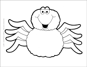 Smiling Spider Reproducible Pattern - Image Clip Art