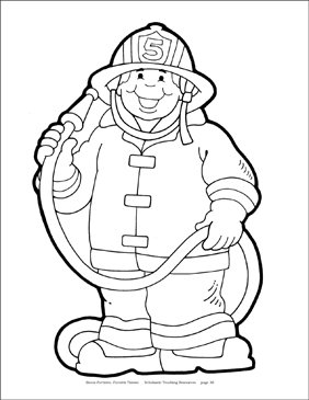 Firefighter (B&W) Reproducible Pattern - Image Clip Art