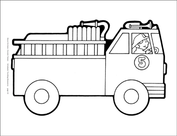 photograph relating to Fire Truck Template Printable identified as Fireplace Truck (BW) Reproducible Behavior Printable Clip Artwork