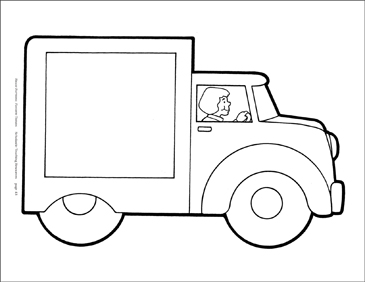 Truck with Driver Reproducible Pattern - Image Clip Art