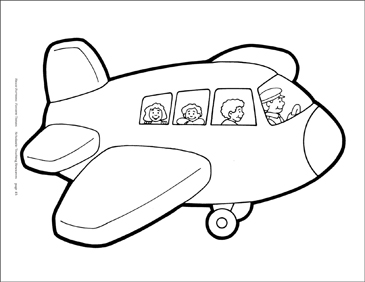 Airplane with Pilot and Passengers Reproducible Pattern - Image Clip Art
