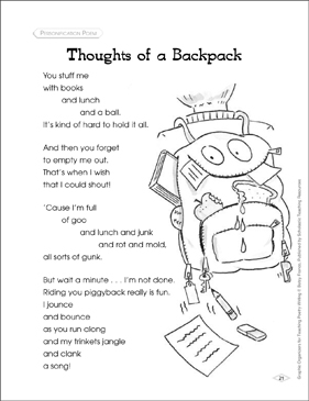 Graphic Organizer to Teach Personification Poem: Thoughts of a Backpack - Printable Worksheet