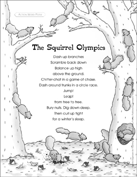 Graphic Organizer to Teach Action Word Poem: The Squirrel Olympics - Printable Worksheet