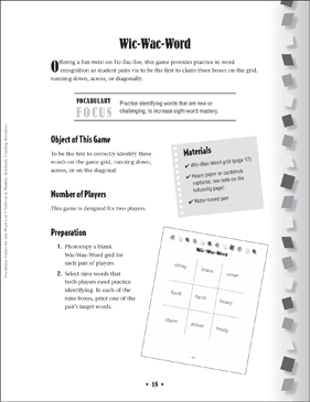 Wic-Wac-Word: Vocabulary Game - Printable Worksheet