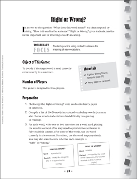 Right or Wrong?: Context Clues Game - Printable Worksheet