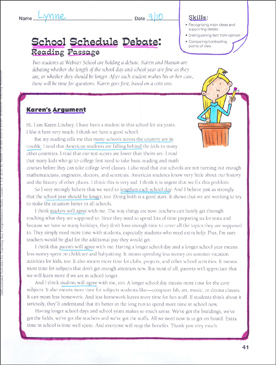 School Schedule Debate (Persuasive Writing): Differentiated Comprehension Activity - Grades 4-6 - Printable Worksheet