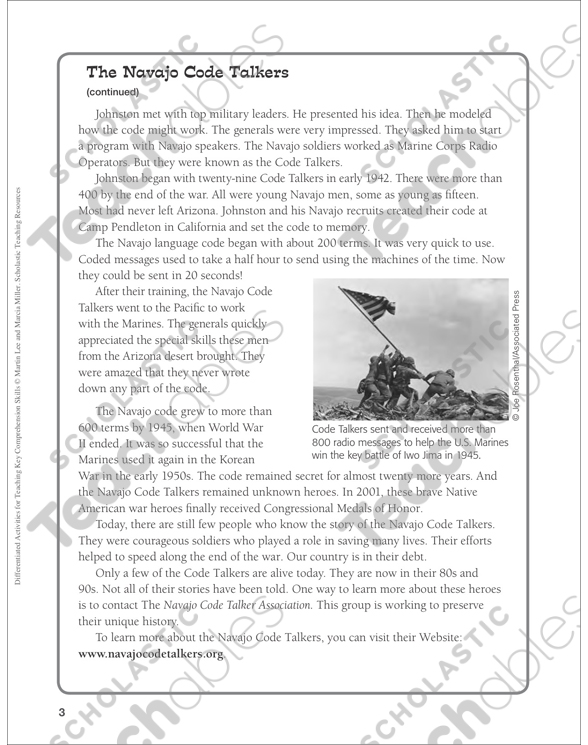 See Inside The Navajo Code Talkers Differentiated Prehension Activity: Navajo Code Talkers Worksheet At Alzheimers-prions.com