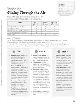 Gliding Through the Air (Humorous Fiction): Differentiated Comprehension Activity - Grades 4-6 - Printable Worksheet