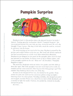 Pumpkin Surprise: Cliffhanger Writing Prompt - Printable Worksheet