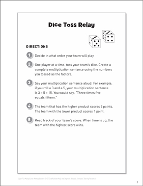 Dice Toss Relay (Fact Fluency Game): Multiplication Memory Boosters - Printable Worksheet