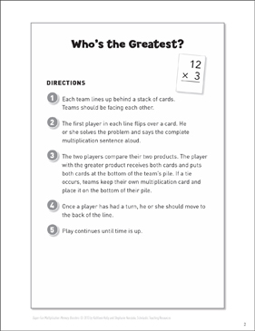 Who's the Greatest? (Fact Fluency Game): Multiplication Memory Boosters - Printable Worksheet