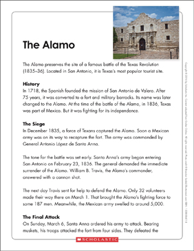 The Alamo: Text & Organizer - Printable Worksheet