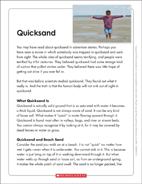 Quicksand: Text & Organizer - Printable Worksheet