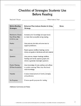 Checklist of Strategies to Use Before Reading - Printable Worksheet