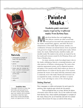Painted Masks: Art Project from Burkina Faso - Printable Worksheet