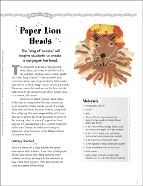 Paper Lion Heads: Art Project from Kenya - Printable Worksheet