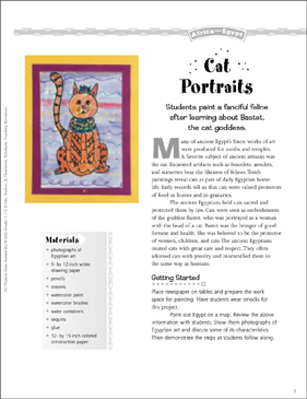 Cat Portraits: Art Project from Egypt - Printable Worksheet
