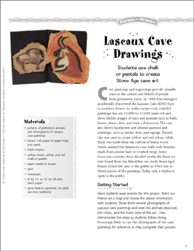 Lascaux Cave Drawings: Art Project from France - Printable Worksheet