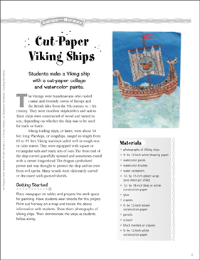 Cut-Paper Viking Ships: Art Project from Norway - Printable Worksheet