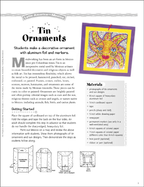 Tin Ornaments: Art Project from Mexico - Printable Worksheet