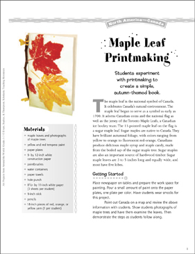 Maple Leaf Printmaking: Art Project from Canada - Printable Worksheet