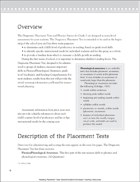 Reading Placement Tests: Second Grade - Printable Worksheet