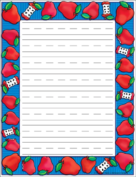 Apple Time Stationery: Double Spaced - Printable Worksheet