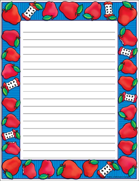 Apple Time Stationery: Single Spaced - Printable Worksheet