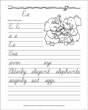 Letter Ee: Cursive Writing Practice - Printable Worksheet